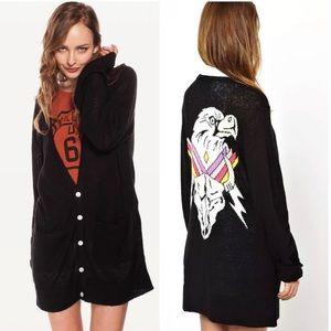 Wildfox Black Apache Eagle Knit Oversized Cardigan